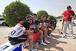 Radioshack-Nissan team riders Markel Irizar (ESP), Tony Gallopin (FRA), Joost Posthuma (NED) and Yaroslav Popvych (UKR) relax before the start of the 3rd Stage of the 2012 Tour of Qatar running 146.5km from Dukhan Souq, Dukhan to Al Gharafa, Qatar. 7th February 2012.<br /> (Photo Eoin Clarke/Newsfile)