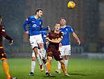 St Johnstone v Motherwell…15.12.18…   McDiarmid Park    SPFL<br />David Wotherspoon heads clear from Danny Johnson<br />Picture by Graeme Hart. <br />Copyright Perthshire Picture Agency<br />Tel: 01738 623350  Mobile: 07990 594431