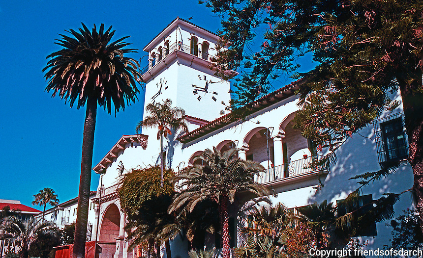 Santa Barbara CA: Santa Barbara County Courthouse--1929. Wm. Mooser & Co. Mission Revival. Photo 1983.