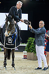 Roger Yves Bost riding Record d'Oreal during the Prize Ceremony after winning the Massimo Dutti Trophy as part of the Longines Masters of Hong Kong on 21 February 2016 at the Asia World Expo in Hong Kong, China. Photo by Victor Fraile / Power Sport Images