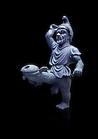 Erotic bronze oil lamp configured as a dancing midget, found in Pompeii,  Secret Museum or Secret Cabinet, Naples Archaeological Museum , black background