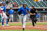 Biloxi Shuckers third baseman Lucas Erceg (1) jogs to first base after belting a home run against the Tennessee Smokies on May 18, 2021, at Smokies Stadium in Kodak, Tennessee. (Danny Parker/Four Seam Images)