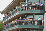 August 28, 2021: Fans watch as Gamine #1 ridden by jockey John Velazquez win the Grade 1 Ballerina Handicap at Saratoga Race Course in Saratoga Springs, N.Y. on August 28th, 2021. Scott Serio/Eclipse Sportswire/CSM