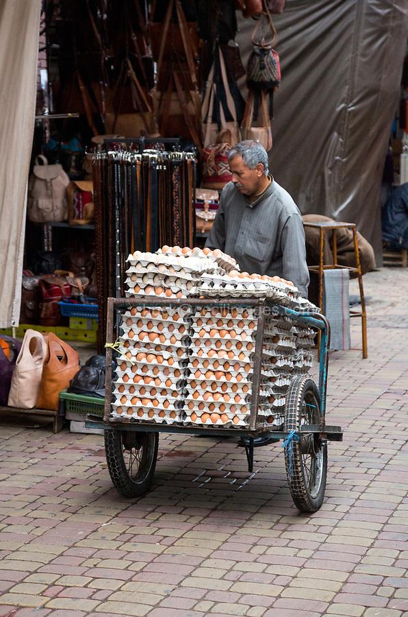 Marrakesh, Morocco.  Egg Man Delivering Eggs in the Medina.