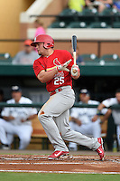 Palm Beach Cardinals first baseman Luke Voit (25) at bat during a game against the Lakeland Flying Tigers on April 13, 2015 at Joker Marchant Stadium in Lakeland, Florida.  Palm Beach defeated Lakeland 4-0.  (Mike Janes/Four Seam Images)