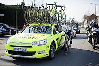 World Champion Peter Sagan (SVK/Tinkoff) dropping back to the team car<br /> <br /> Kuurne-Brussel-Kuurne 2016