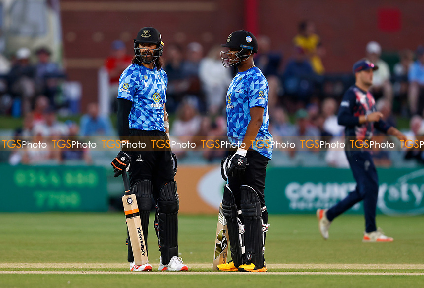 David Wiese (L) and Delray Rawlins of Sussex during Kent Spitfires vs Sussex Sharks, Vitality Blast T20 Cricket at The Spitfire Ground on 18th July 2021