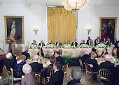 First lady Hillary Rodham Clinton, far left, makes remarks at the 200th Anniversary of the White House Dinner in Washington, D.C. on November 9, 2000. Seated at the front table, from left to right: former first lady Betty Ford, former United States President Jimmy Carter, former first lady Barbara Bush, former U.S. President Gerald R. Ford, U.S. President Bill Clinton, former first lady Lady Bird Johnson, former U.S. President George H.W. Bush, and former first lady Rosalynn Carter.<br /> Credit: Ron Sachs / CNP
