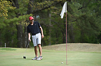 Taylor Bryant plays a round of golf, Monday, April 26, 2021 at the Prairie Creek golf course in Rogers. The Prairie Creek golf course is closing after 50 years of ownership in the Rountree family. Check out nwaonline.com/210427Daily/ for today's photo gallery. <br /> (NWA Democrat-Gazette/Charlie Kaijo)