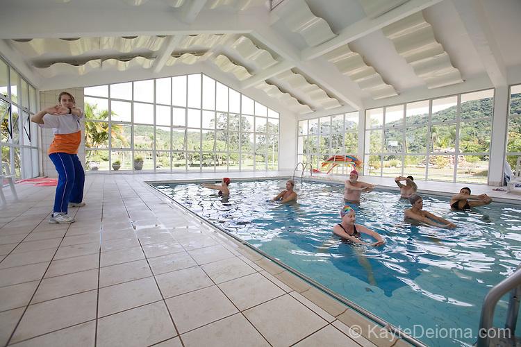 A water aerobics class in the thermal pool at the Itapema Plaza Resort and Spa, Santa Catarina, Brazil