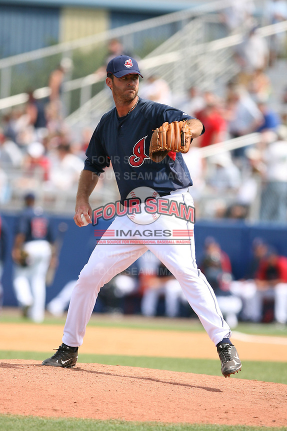 March 20th 2008:  Scott Elarton of the Cleveland Indians during a Spring Training game at Chain of Lakes Park in Winter Haven, FL.  Photo by:  Mike Janes/Four Seam Images