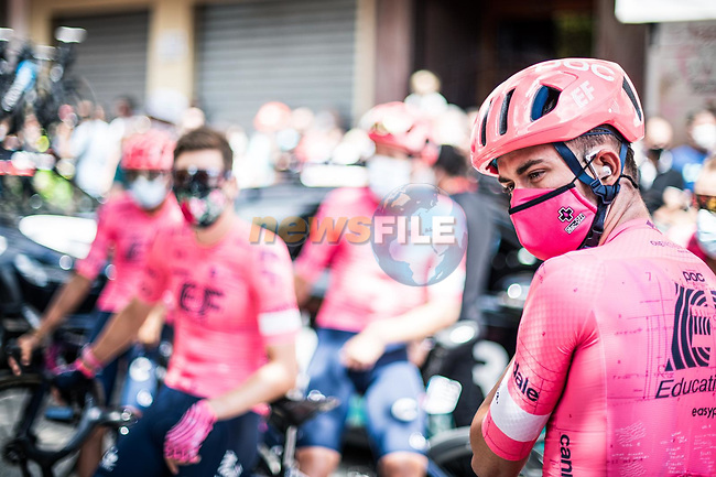 EF Education-Nippo at sign on before the start of Stage 6 of La Vuelta d'Espana 2021, running 158.3km from Requena to Alto de la Montaña Cullera, Spain. 19th August 2021.    <br /> Picture: Charly Lopez/Unipublic | Cyclefile<br /> <br /> All photos usage must carry mandatory copyright credit (© Cyclefile | Unipublic/Charly Lopez)