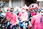 EF Education-Nippo at sign on before the start of Stage 6 of La Vuelta d'Espana 2021, running 158.3km from Requena to Alto de la Montaña Cullera, Spain. 19th August 2021.    <br /> Picture: Charly Lopez/Unipublic   Cyclefile<br /> <br /> All photos usage must carry mandatory copyright credit (© Cyclefile   Unipublic/Charly Lopez)