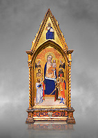 Gothic altarpiece of Madonna and Child by Niccolo di Tommaso, circa 1362-1367, tempera and gold leaf on wood.  National Museum of Catalan Art, Barcelona, Spain, inv no: MNAC  212809. Against a grey art background.