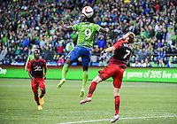 Seattle, Washington - April 26, 2015: Seattle Sounders FC defeated the Portland Timbers 1-0 in MLS action on the Xbox Pitch at CenturyLink Field.