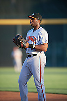 Bowie Baysox first baseman Aderlin Rodriguez (34) during a game against the Harrisburg Senators on May 16, 2017 at FNB Field in Harrisburg, Pennsylvania.  Bowie defeated Harrisburg 6-4.  (Mike Janes/Four Seam Images)