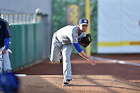 Chattanooga Lookouts starting pitcher Alex Wimmers (21) warms up in the bullpen before a game against the Tennessee Smokies on April 25, 2015 in Kodak, Tennessee. The Smokies defeated the Lookouts 16-10. (Tony Farlow/Four Seam Images)