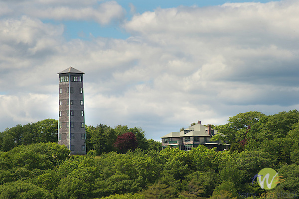 Miles Tower and mansion, South Bristol Harbor, ME.