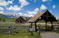 Episcopal Chapel of the Transfiguration church with a backdrop of the Grand Tetons National Park Jackso Wyomin USA