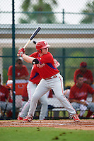 GCL Phillies first baseman Danny Zardon (23) at bat during a game against the GCL Pirates on August 6, 2016 at Pirate City in Bradenton, Florida.  GCL Phillies defeated the GCL Pirates 4-1.  (Mike Janes/Four Seam Images)
