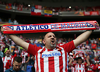 16th May 2018, Stade de Lyon, Lyon, France; Europa League football final, Marseille versus Atletico Madrid; Atletico Madrid fan chanting with team scarf inside Stade de Lyon