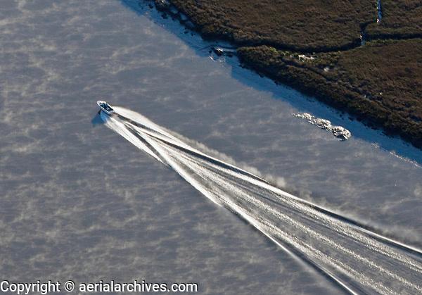 aerial photograph of the wake of a power boat on the Petaluma River, Sonoma county, California