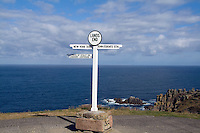 Southernmost tip of England, Lands End, Cornwall sign of distances on cliff.