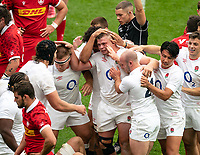 Jamie Blamire (Newcastle Falcons) of England celebrates his hat-trick try during the Autumn International match between England and Canada at Twickenham Stadium, London, England on 10 July 2021. Photo by Liam McAvoy.