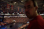 """Sunday, June 24, Raleigh, North Carolina..California evangelist Greg Laurie, brought his """"Harvest Crusade"""" to the RBC Center in Raleigh, NC for 3 days of music. prayer and Christian evangelism. Laurie brought together 200 local churches to sponsor the event which used 3000 volunteers and hopes to convert many newcomers to his version of born again Christianity.. An overview of the crowd."""