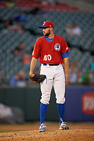 Buffalo Bisons relief pitcher Tim Mayza (40) looks in for the sign during a game against the Syracuse Chiefs on July 6, 2018 at Coca-Cola Field in Buffalo, New York.  Buffalo defeated Syracuse 6-4.  (Mike Janes/Four Seam Images)
