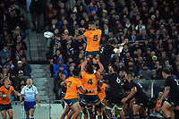 Australia's Lukhan Salakaia-Loto takes lineout ball during the Bledisloe Cup rugby match between the New Zealand All Blacks and Australia Wallabies at Eden Park in Auckland, New Zealand on Saturday, 7 August 2021. Photo: Dave Lintott / lintottphoto.co.nz