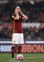 Calcio, Serie A: Roma vs Inter. Roma, stadio Olimpico, 19 marzo 2016.<br /> Roma's Miralem Pjanic prepares to kick a free kick during the Italian Serie A football match between Roma and FC Inter at Rome's Olympic stadium, 19 March 2016. The game ended 1-1.<br /> UPDATE IMAGES PRESS/Isabella Bonotto