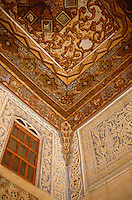 A detail of one of the richly decorated wood carved ceilings to be found in the palace