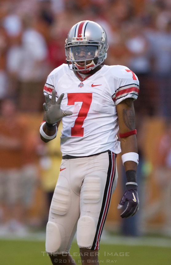 09 September 2006: Ohio State receiver and Heisman candidate Ted Ginn Jr. pauses between plays during the Buckeyes 24-7 victory over the Texas Longhorns at Darrell K Royal Memorial Stadium in Austin, TX.
