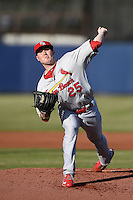 Palm Beach Cardinals pitcher Kyle Hald (25) during a game against the Charlotte Stone Crabs on April 12, 2014 at Charlotte Sports Park in Port Charlotte, Florida.  Palm Beach defeated Charlotte 6-2.  (Mike Janes/Four Seam Images)