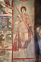 "Pictures & imagse of the interior frescoes of the Timotesubani medieval Orthodox monastery Church of the Holy Dormition (Assumption), dedcated to the Virgin Mary, 1184-1213, Samtskhe-Javakheti region, Georgia (country).<br /> <br /> Built during the reigh of Queen Tamar during the ""Golden Age of Georgia"", Timotesubani Church of the Holy Dormition is one of the most important examples of medieval Georgian architecture and art. <br /> <br /> The interior frescoes of date from the 11th - 13th century so the Timotesubani church of the Dormition is a treasure trove of medieval Georgian art created during the reign of Queen Tamar. The fresco murals have been rescued and preserved by the Global Fund of Cultural Heritage."