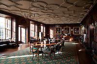 The dining room: created in the nineteenth century out of two rooms when the Jacobean ceiling was installed.