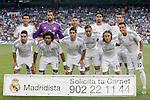 Real Madrid's team photo with Pepe, Diego Lopez, Sergio Ramos, Sami Khedira, Cristiano Ronaldo, Daniel Carvajal, Marcelo Vieira, Isco, Karim Benzema, Luka Modric and Mesut Ozil during La Liga match.August 18,2013. (ALTERPHOTOS/Acero)