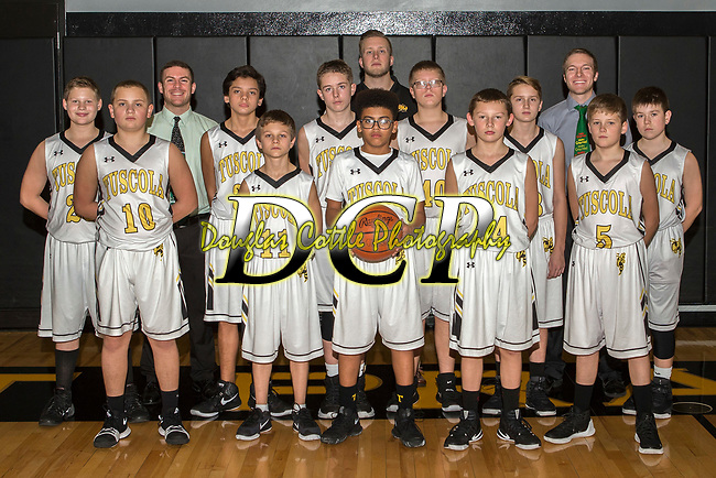 December 19, 2017- Tuscola, IL- The 2017-2018 Tuscola Hornet 7th Grade Boys Basketball team. Players alternating from left are Chris Boyd, Mason Jones, Jordan Sanchez, Hunter Branca, Boston Broady, Will Cowan, Grant Kauffman, Robert Fancher, Ben Hornaday, Easton Cunningham, and Colton Musgrave. Coaches from left are Dustin Dees, Morgan Athey, and Conner Plotner. [Photo: Douglas Cottle]