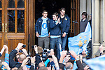 © Joel Goodman - 07973 332324  . 23/05/2011 . Manchester, UK . Left and centre: Alexanda Kolorov, Adam Johnson step out from Manchester Town Hall ahead of the parade . Tens of thousands of fans line the streets of Manchester as Manchester City Football Club hold an open-topped bus parade through the city. The team are celebrating winning the FA Cup, their first trophy in 35 years, and for qualifying for next season's Champions League . Photo credit: Joel Goodman