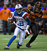Vancouver, September, 09, 2016 - Alouette QB Rakeem Cato [L] tries to avoid Lions' defensive tackle alex Bazzie. The Montreal Alouettes lost to the BC Lions 27-38. (Andrew Soong)