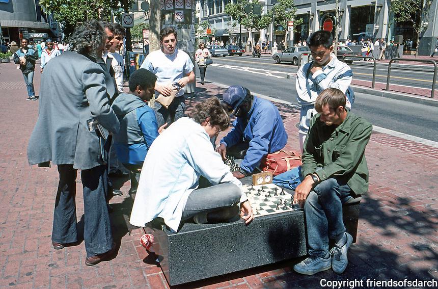San Francisco:  Chess players, street furniture. Market at Powell Plaza.  Photo '89.