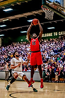 8 January 2020: Stony Brook University Seawolf Forward Anthony Ochefu, a Junior from West Chester, PA, jumps up to dunk one for two on a breakaway in the second half against the University of Vermont Catamounts at Patrick Gymnasium in Burlington, Vermont. The Seawolves defeated the Catamounts 81-77 in a closely fought game. Mandatory Credit: Ed Wolfstein Photo *** RAW (NEF) Image File Available ***