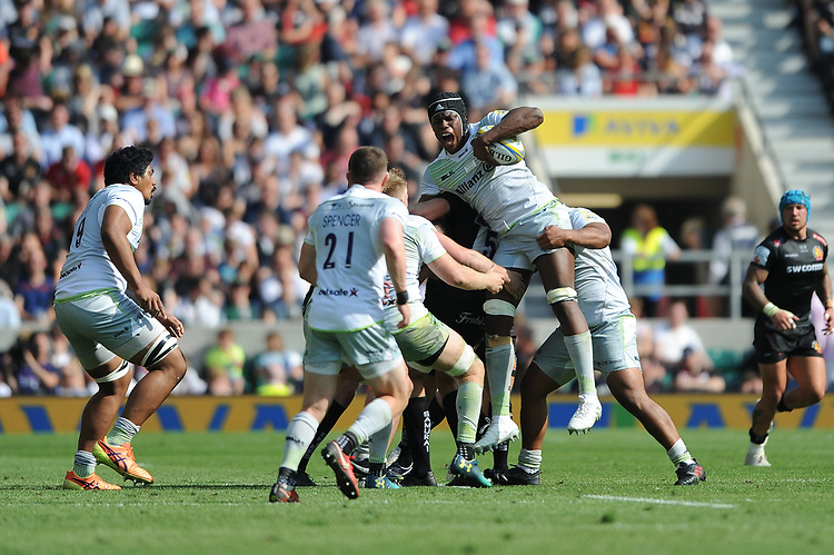 Maro Itoje of Saracens looks in discomfort after securing the lineout ball during the Aviva Premiership Rugby Final between Exeter Chiefs and Saracens at Twickenham Stadium on Saturday 26th May 2018 (Photo by Rob Munro/Stewart Communications)