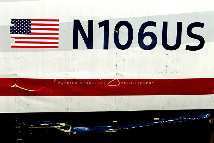 US Airways Flight 1549, also known as the Miracle on the Hudson plane, traveled in pieces to its final resting place at the Carolina Aviation Museum in Charlotte, NC.  Two years earlier, the commercial passenger flight was enroute to Charlotte/Douglas International Airport when it was successfully landed in New York's Hudson River after striking a flock of Canada Geese six minutes after taking off from LaGuardia Airport.