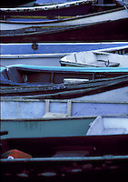 Rows of pastel colored rowboats<br />