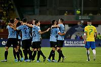 BUCARAMANGA - COLOMBIA, 06-02-2020: Manuel Ugarte (#5) de Uruguay celebra después de anotar el primer gol de su equipo durante partido entre Brasil U-23 Y Uruguay U-23 por el cuadrangular final como parte del torneo CONMEBOL Preolímpico Colombia 2020 jugado en el estadio Alfonso Lopez en Bucaramanga, Colombia. / Manuel Ugarte¨(#5) of Uruguay celebrates after scoring the first goal of his team during match between Brazil U-23 and Uruguay U-23 for the final quadrangular as part of CONMEBOL Pre-Olympic Tournament Colombia 2020 played at Alfonso Lopez stadium in Bucaramanga, Colombia. Photo: VizzorImage / Jaime Moreno / Cont