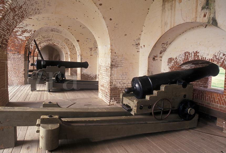 AJ3988, cannon, Fort Pulaski, Savannah, fort, Georgia, Fort Pulaski National Monument, Cannons displayed inside the fort at Fort Pulaski Nat'l Monument in the state of Georgia.