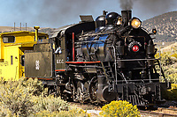 Former Kennecot Copper Corporation steam locomotive, an Alco 2-8-0 built in 1909, is currently operated by Nevada Northern Railway Museum in Ely, Nevada.