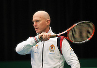 06-02-12, Netherlands,Tennis, Den Bosch, Daviscup Netherlands-Finland, Training, Technisch directeur Rohan Goetske